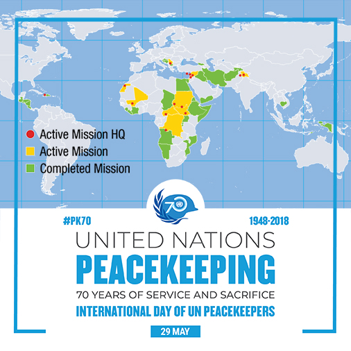 map of UN peacekeeping missions around the world