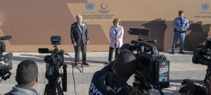 UN Secretary-General António Guterres and UN Special Representative for International Migration, Louise Arbour, hold a stakeout after the opening of Global Compact for Migration Conference in Marrakech, Morocco. 10 December 2018.