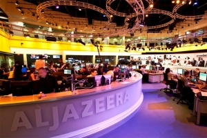 View of the Al Jazeera television studio.