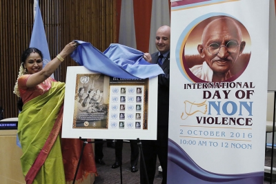 UN Postal Administration unveils the commemorative stamp of M.S. Subbulakshmi, Indian music legend on the 50th anniversary of her performance at the UN in 1966, during an event on the International Day of Non-Violence at the UN Headquarters on 2 October 2016. The first copy is presented to musician Sudha Raghunathan (left
