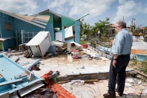 United Nations Secretary-General António Guterres seeing first-hand the destruction wrought by the recent hurricanes in the Caribbean (Codrington, Antigua and Barbuda)