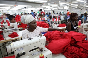 Factory workers in Accra, Ghana, producing shirts for overseas clients