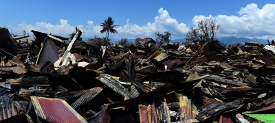 View of damaged cars and houses at Balaroa National Park, West Palu, Central Sulawesi, Indonesia after the earthquake and tsunami that struck there on September 28, 2018.