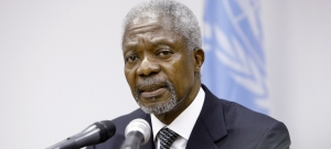 Kofi Annan was the seventh Secretary-General of the United Nations. In this field photo from 2006, he speaks to reporters at the UN mission in Liberia (UNMIL).