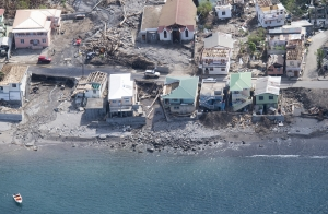 Aerial view of Salybia, Dominica after the island was hit by a category 5 hurricane in 2017