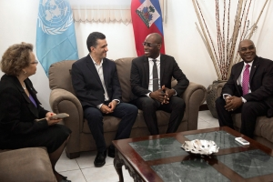 Ambassador Sacha Sergio Llorentty Solíz (centre left) of Bolivia and President of the Security Council for June, with PresidentJovenel Moise (centre right) of Haiti, during a three-day visit of a Security Council delegation to Haiti.