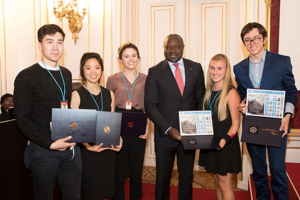 Lassina Zerbo, the Executive Secretary of the CTBTO, with young people attending the Science and Technology 2017 Conference in Vienna, Austria.