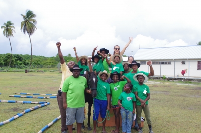 students from a school in Tobago with their teacher