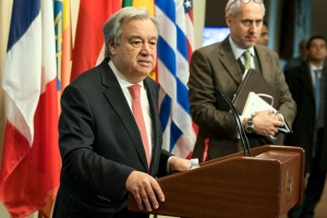 Secretary-General António Guterres addresses the press.