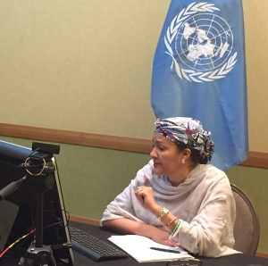 Amina Mohammed at the UNIC in Port of Spain addressing a regional webcast