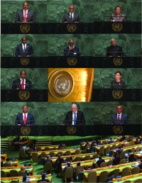 Caribbean speakers at the General Debate of the UN General Assembly. Antigua and Barbuda, The Bahamas, Barbados, Belize, Dominica, Grenada, Guyana, Jamaica, Saint Kitts and Nevis, Saint Lucia, Saint Vincent and the Grenadines, Suriname,  and Trinidad and Tobago (left to right and top to bottom).