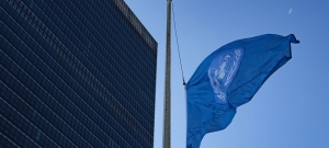 The United Nations flag flies at half-mast at UN Headquarters in New York in memory of the people who died in an Ethiopian Airlines crash accident in Ethiopia on 10 March 2019.