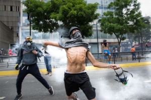 Protesters in La Castellana, a neighborhood in eastern Caracas, Venezuela.