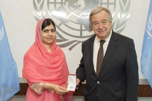 Secretary-General António Guterres designates children's rights activist and Nobel Laureate Malala Yousafzai as a UN Messenger of Peace.