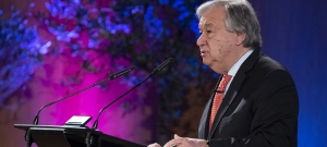 UN Secretary-General António Guterres speaks at the University of Geneva, launching his Agenda for Disarmament, on 24 May 2018.