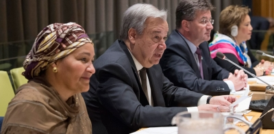 Secretary-General António Guterres (center) addresses the General Assembly on the repositioning of the UN Development System. To his left is Deputy Secretary-General Amina Mohammed and at right is General Assemlby President Miroslav Lajčák.