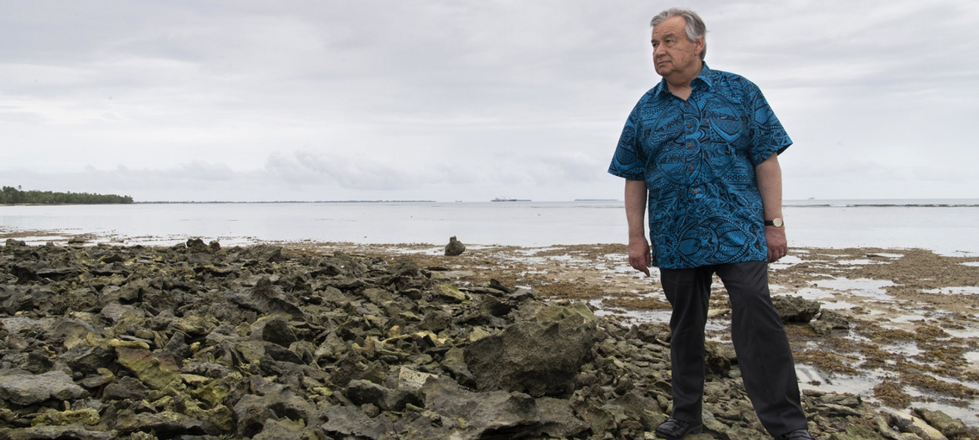 UN Photo/Mark Garten The UN Secretary-General António Guterres visited the low-lying island of Tuvalu in May 2019 to see how Pacific Ocean nations would be effected by the rise in sea levels.