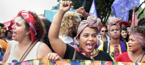 Women in Brazil march for women's rights.