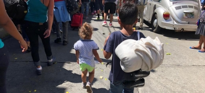Children are among the migrants from Central America who are walking north towards the United States. Here they are pictured on the streets of Tapachula, Chiapas, Mexico.