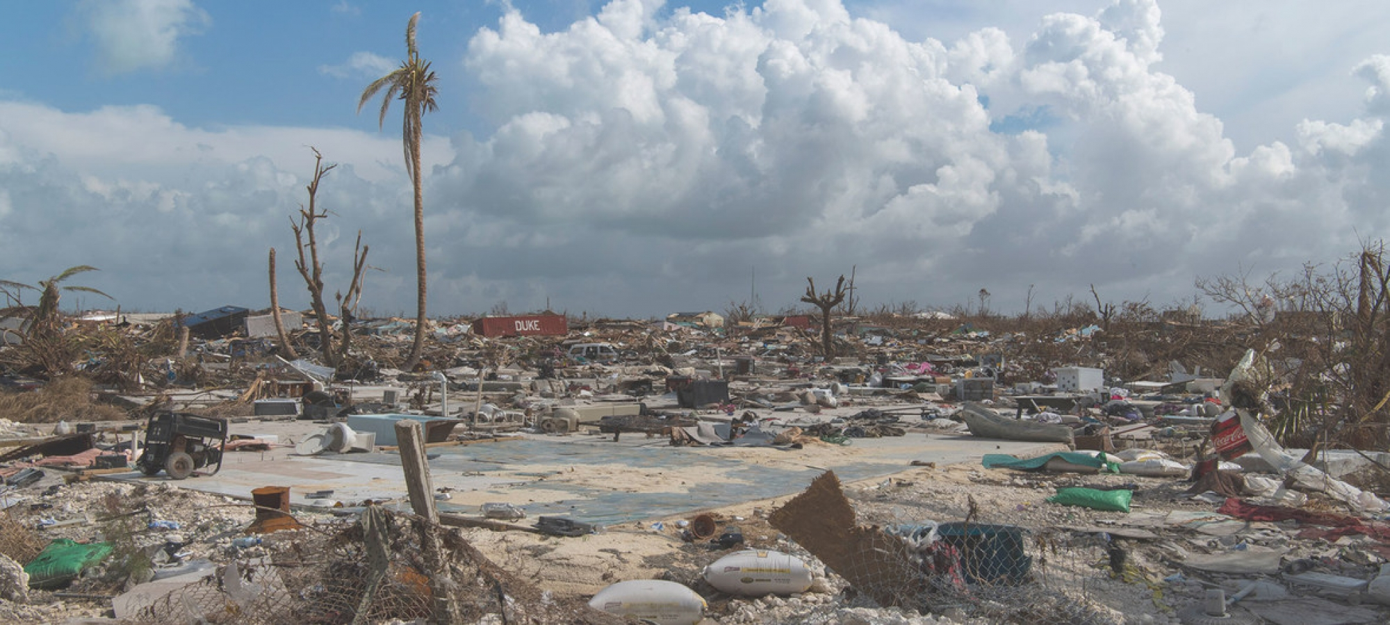 View of the mass destruction by Hurricane Dorian in Marsh Harbour, Abaco Island in the Bahamas. (11 September 2019)