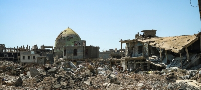 Destruction in the Iraqi war-battered city of Mosul, evident after the city was liberated from ISIL forces in 2017.