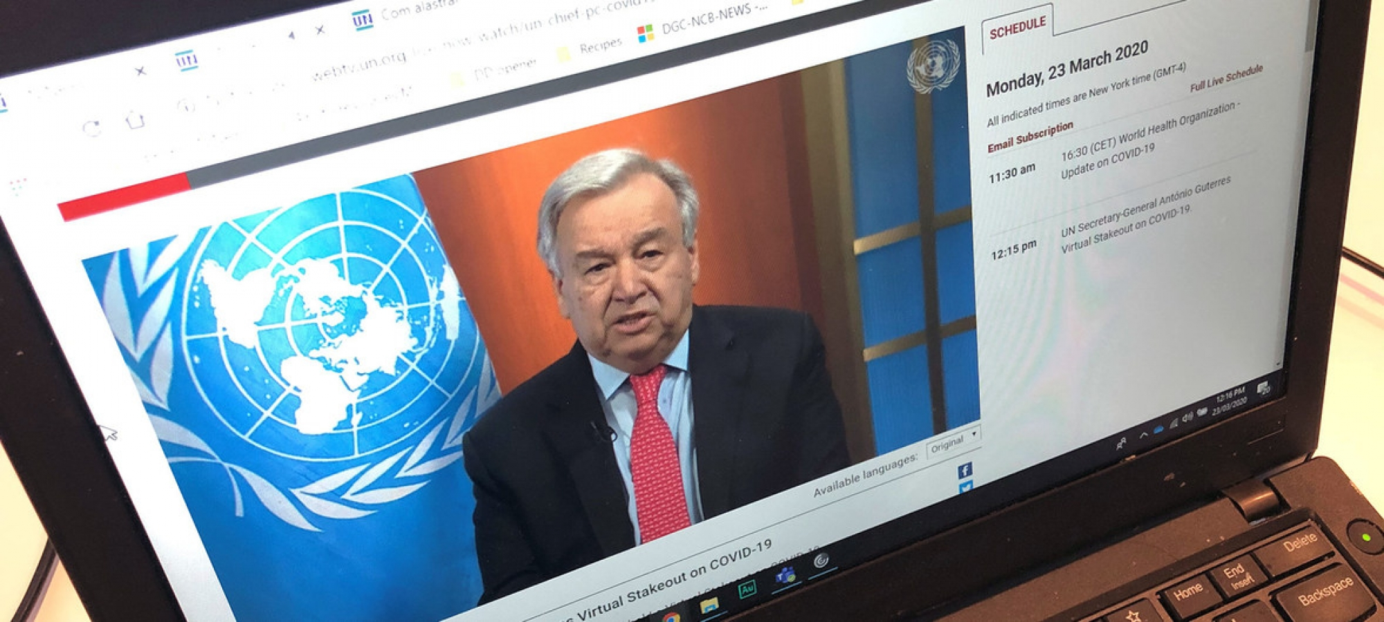 The UN Secretary-General António Guterres appeals for a global ceasefire in a virtual press conference broadcast on UN Web TV.