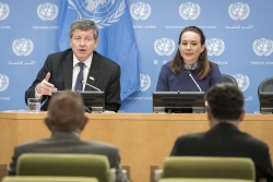 Guy Ryder (left), Director General of the International Labour Organization (ILO),  with María Fernanda Espinosa Garcés, President of 73rd  General Assembly, on the meeting to commemorate the 100th anniversary of the establishment of the ILO.