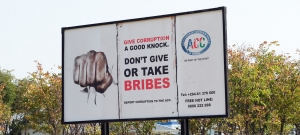 Anti-corruption sign in Namibia.
