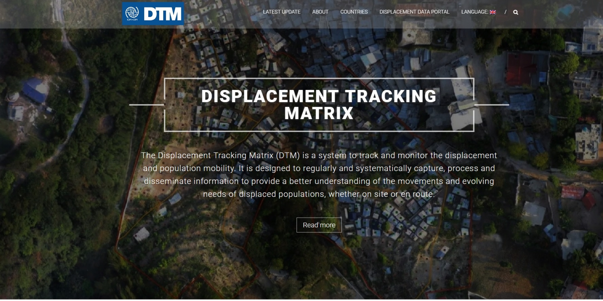 image of the IOM DTM website