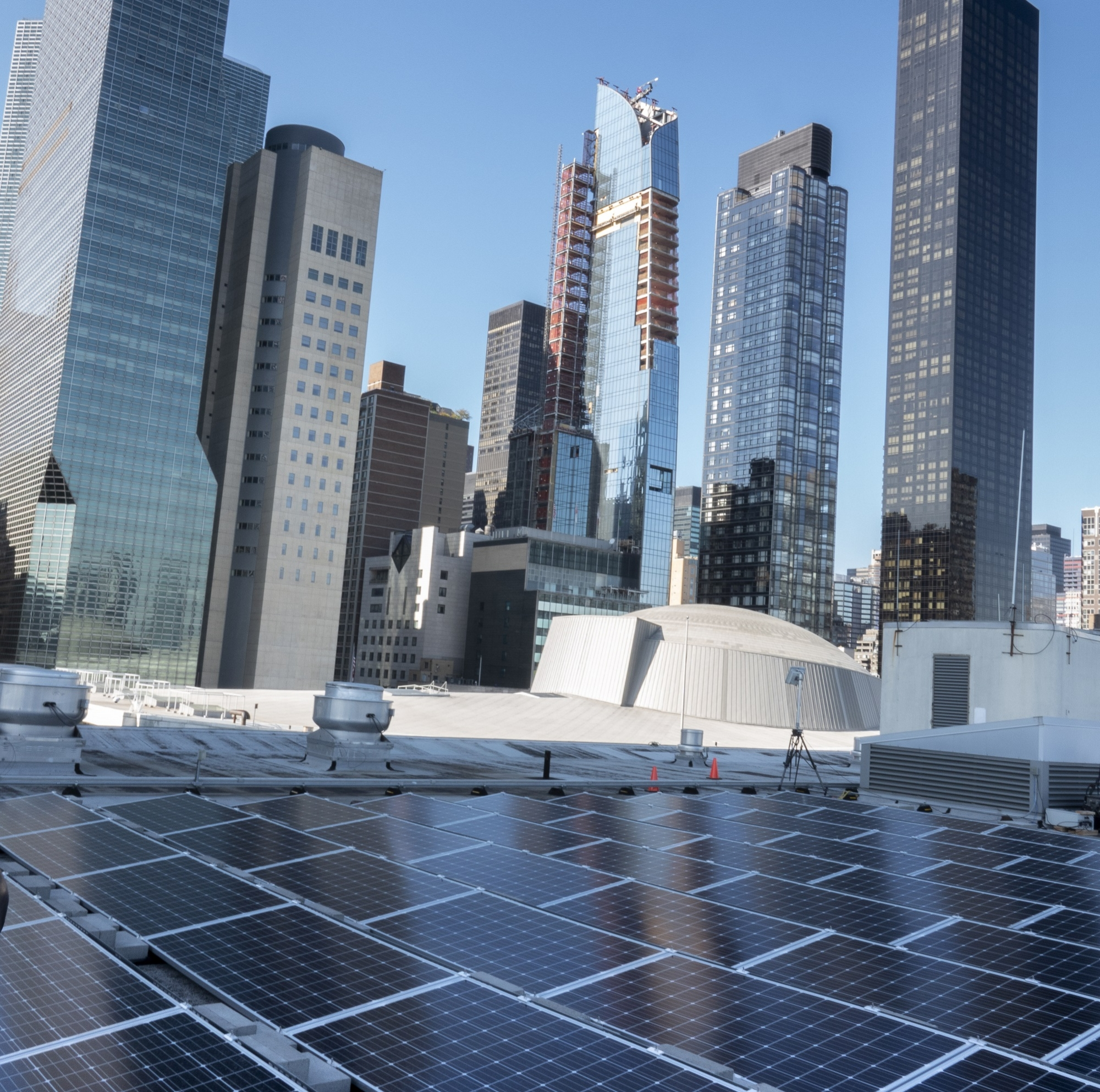 A view of the solar panels, a gift from India, installed on the roof of the United Nations.