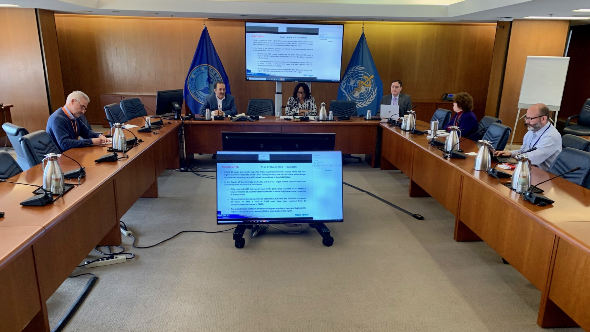 PAHO Director speaks at teleconference on 18 March 2020