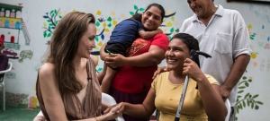In Riohacha, Colombia, UNHCR Special Envoy Angelina Jolie meets with Ester Barboza, 17, who has been blind since age three and fled Venezuela with her family due to lack of medical care.