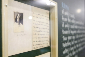 Close-up of a photograph of Anne Frank, part of the exhibit 'Monument of Good Deeds: Dreams and Hopes of Children During the Holocaust,' which was held in 2012 at UN Headquarters.