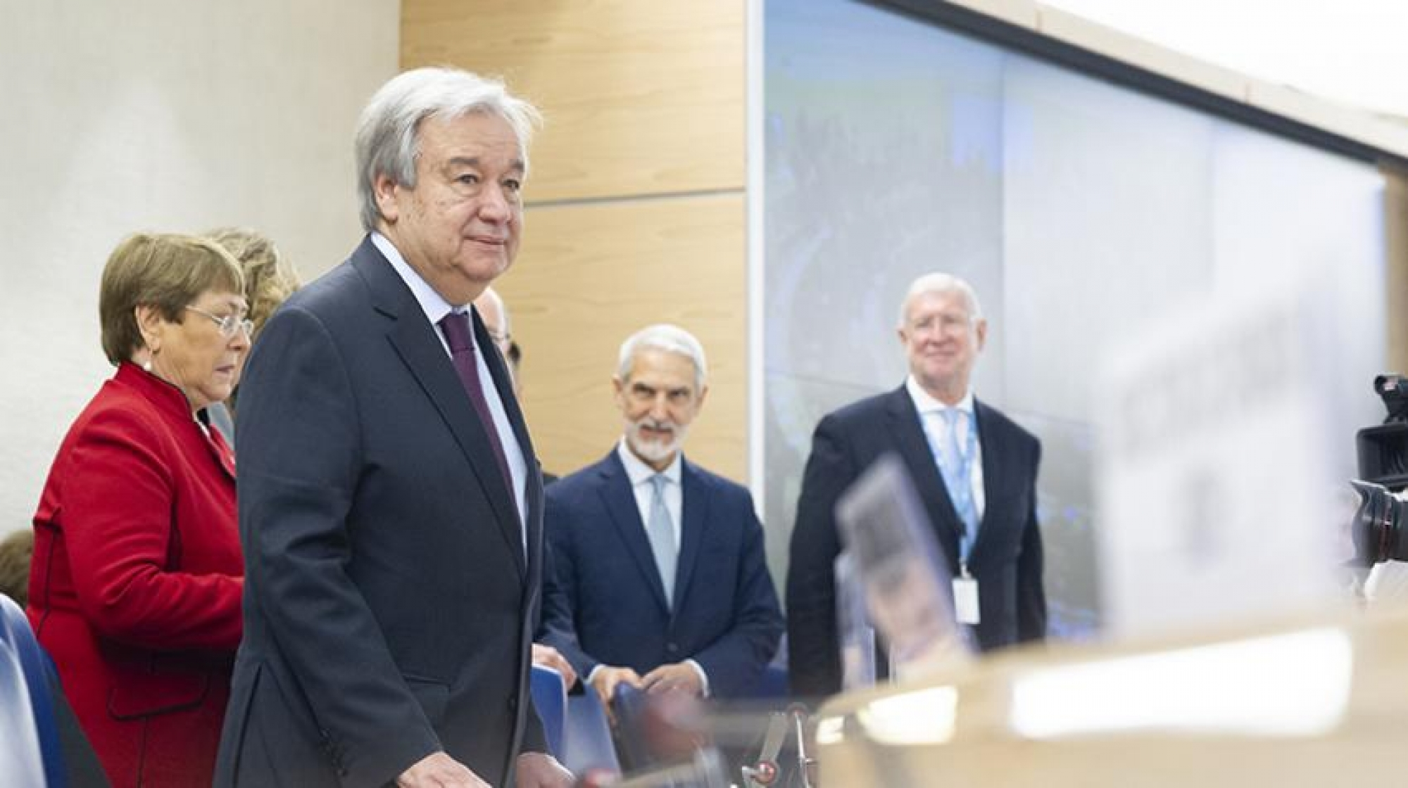 Secretary-General António Guterres (second from left) attending the opening of the forty-third regular session of the Human Rights Council, where he launched his Call for Action for Human Rights.