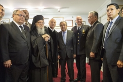 photo archive: Secretary-General António Guterres (centre) participates in an interfaith tribute at the Park East Synagogue in New York City