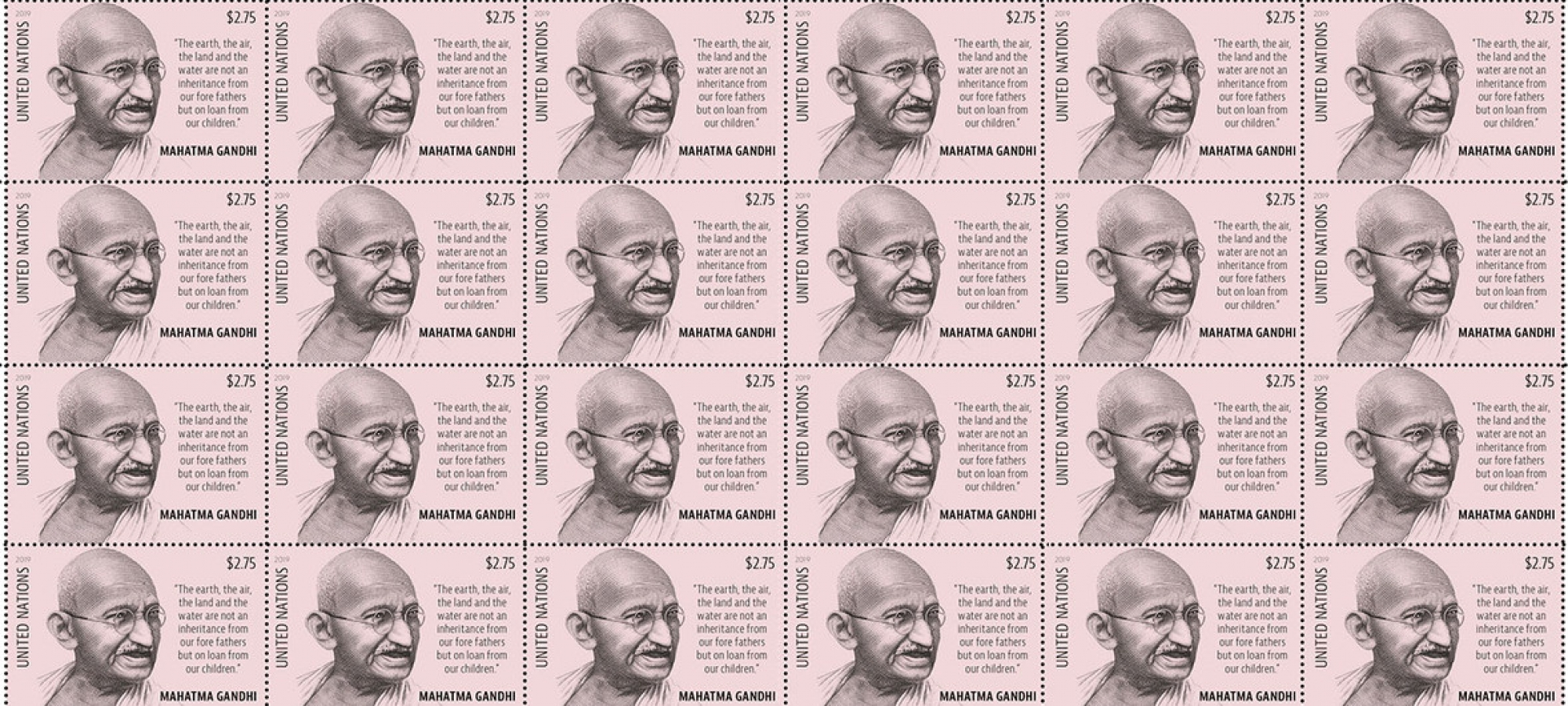 UN Postal Administration-issued stamp of Mahatma Gandhi in Commemoration of International Day of Non-Violence. (2 October 2019)