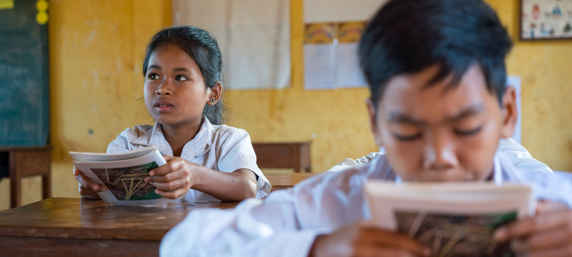 At Kres primary school, in Cambodia, the multilingual education curriculum allows children to study in their indigenous language of Kreung, while they learn the national language of Khmer (November 2018).